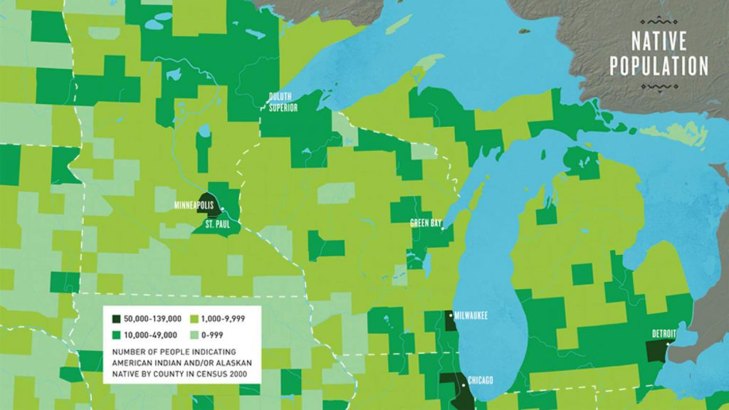 This map highlights Native population by county in the upper Midwest, based on U.S. Census figures from 2000. Image from The Ways/PBS Wisconsin Education.