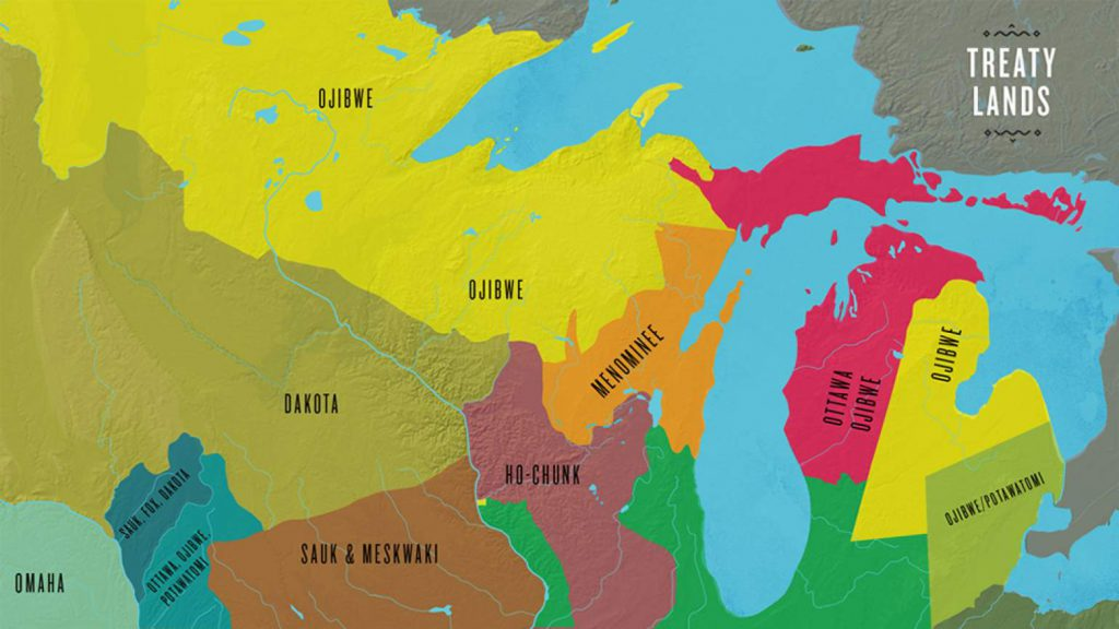 This map highlights the treaty lands of Native American tribal nations in the upper Midwest circa the early 1800s. Image from The Ways/PBS Wisconsin Education.