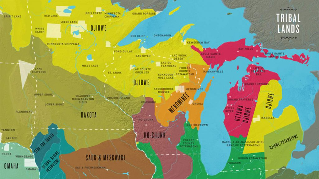 This map highlights the tribal lands held by Native American triable nations in the upper Midwest. Image from The Ways/PBS Wisconsin Education.
