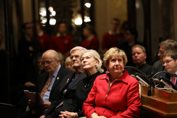 Gov. Tony Evers gives his first State of the State address in Madison, Wisconsin, at the state Capitol building on Jan. 22, 2019. Here, Assistant Minority Leader Sen. Janet Bewley, D-Mason, left, and Senate Minority Leader Sen. Jennifer Shilling, D-La Crosse, right, are seen at the speech. Photo by Emily Hamer/Wisconsin Center for Investigative Journalism.