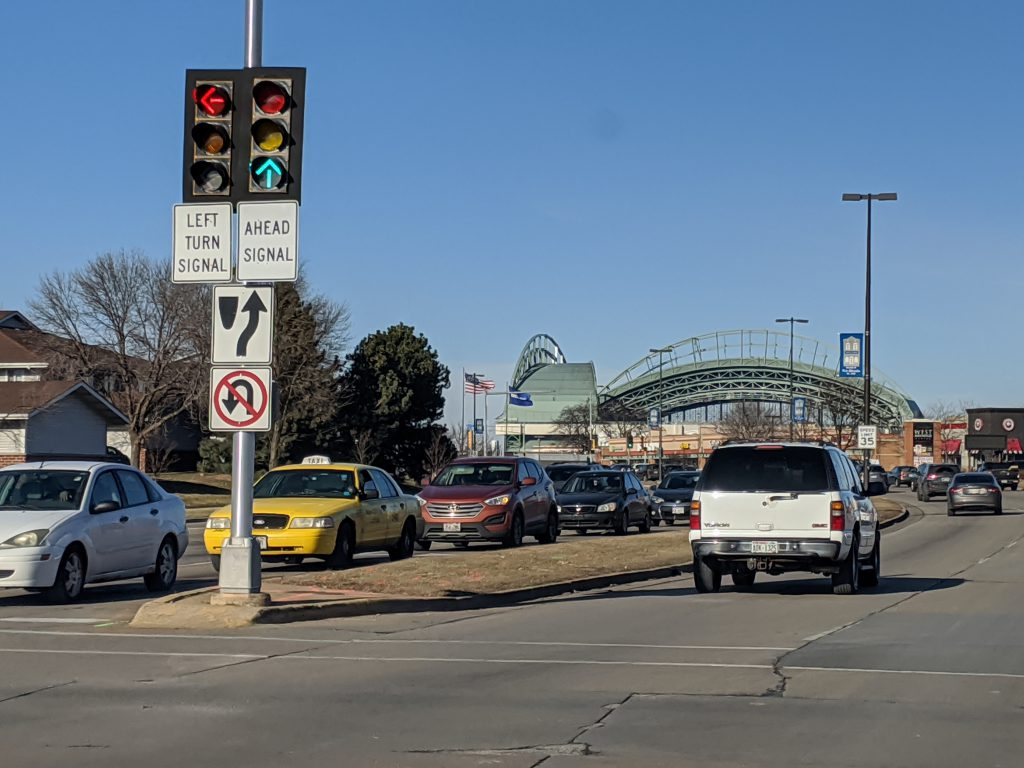 A section of S. 43rd Street is Called S. Miller Park Way. Will it carry the American Family Insurance name? Photo by Carl Baehr.