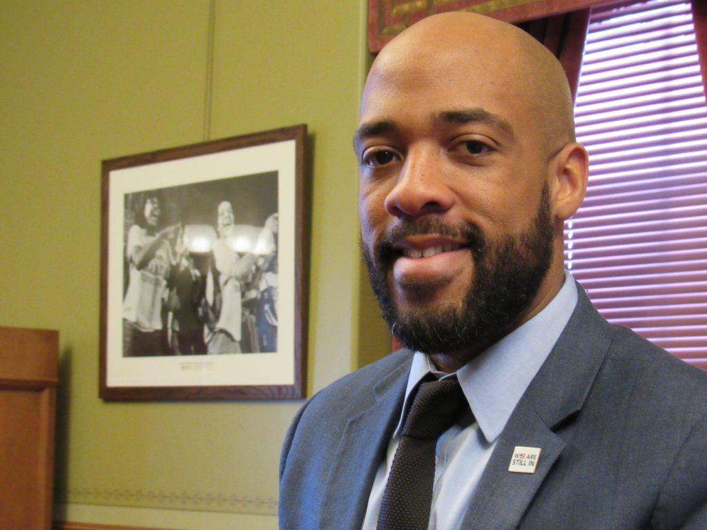 LT. Gov. Mandela Barnes in his office. Photo by Isiah Holmes/Wisconsin Examiner.