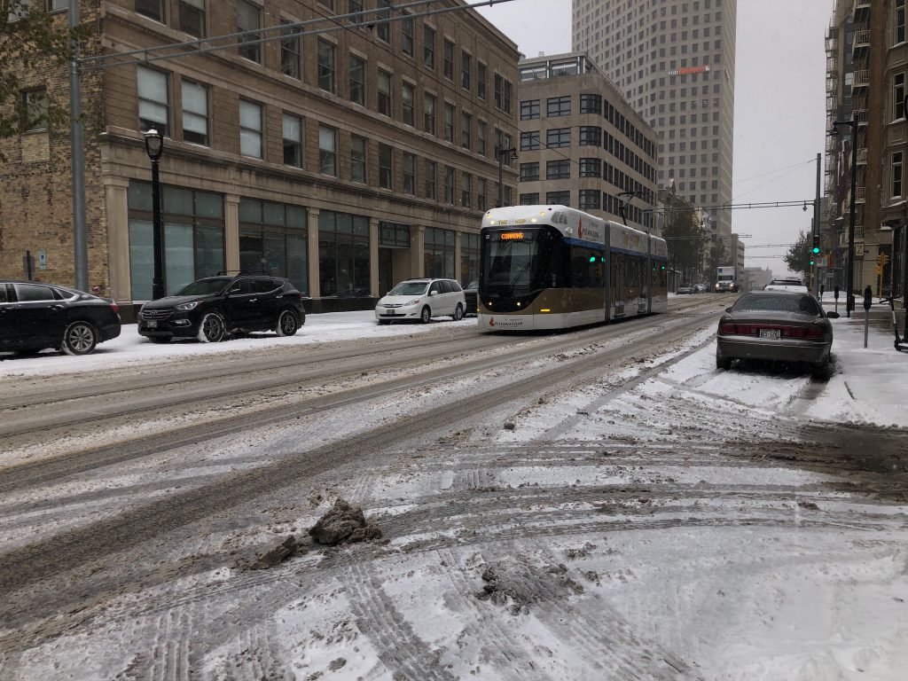 The Hop, Milwaukee's streetcar system, operating in the snow in November 2019. Photo by Jeramey Jannene.