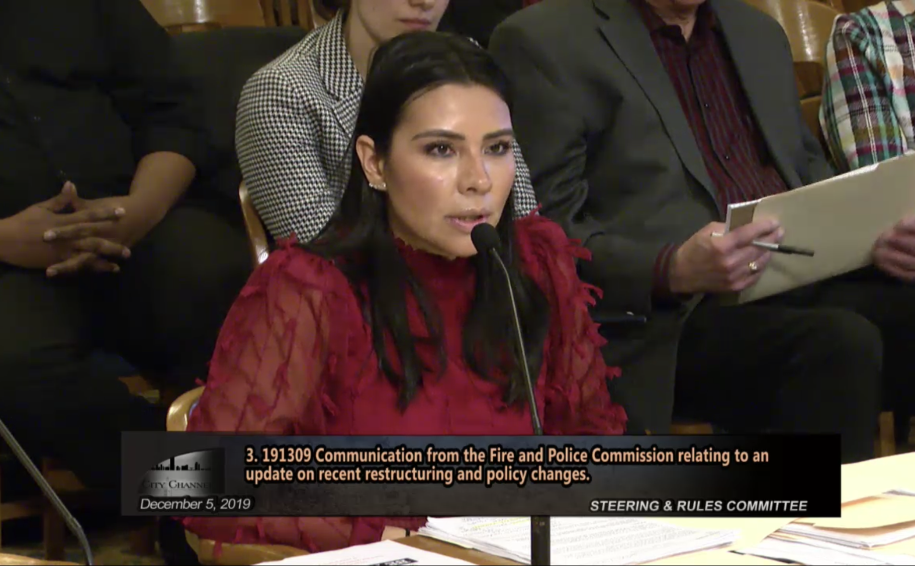 FPC Executive Director Griselda Aldrete speaks before the Common Council. Image from the City of Milwaukee.