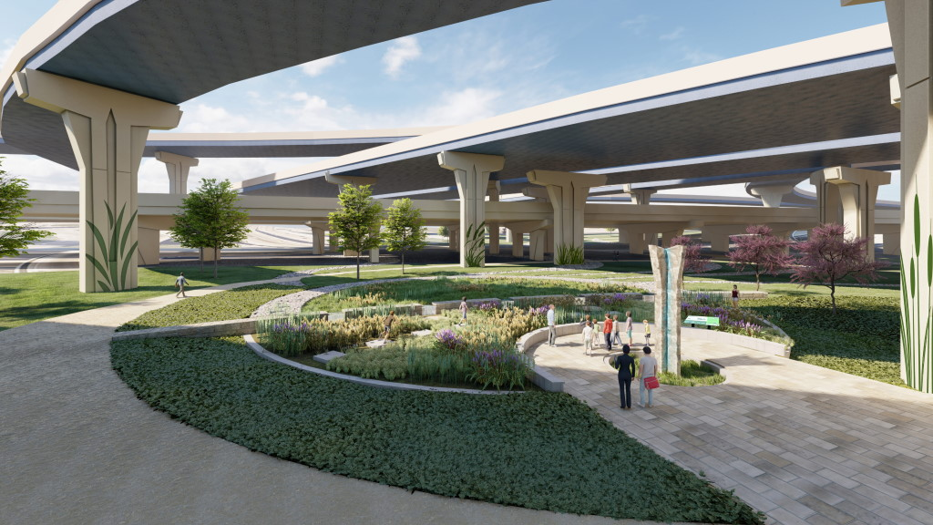 Milwaukee Overpass GI Stormwater Project Rendering. Rendering by Human Nature | Strand Associates
