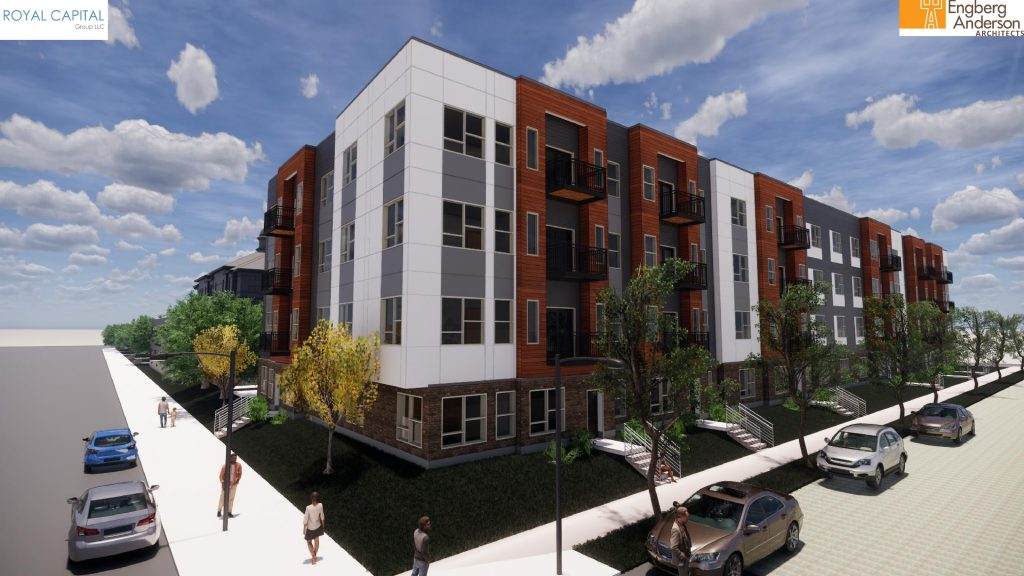 Rendering of a new 4-story building on the Phillis Wheatley property. Rendering by Engberg Anderson Architects.