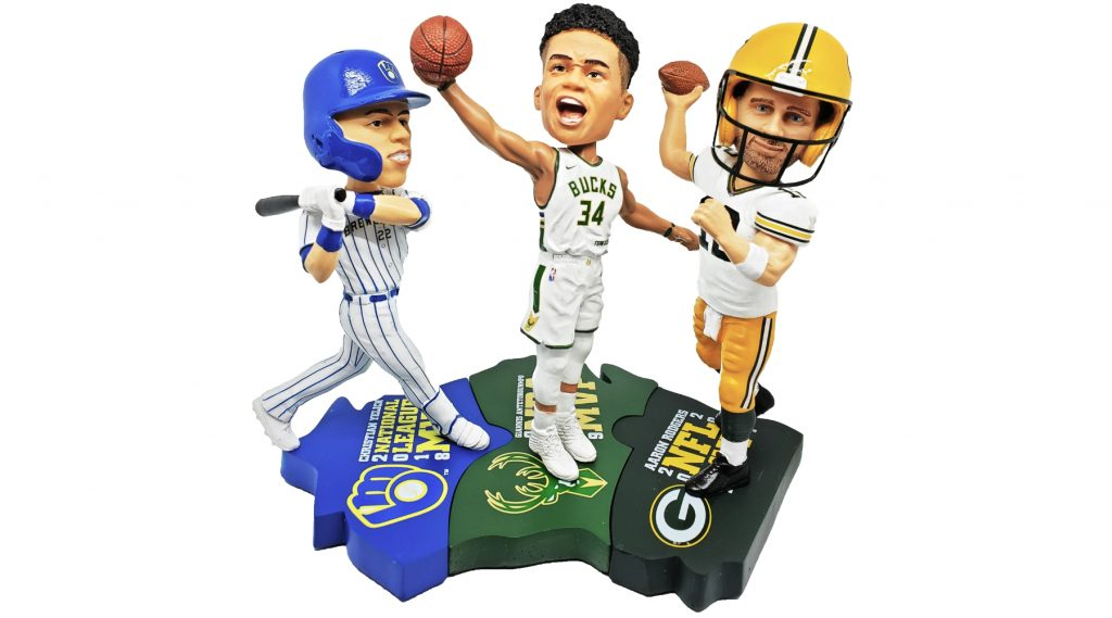 Wisconsin Triple MVP Bobblehead Set. Photo courtesy of the National Bobblehead Hall of Fame and Museum.