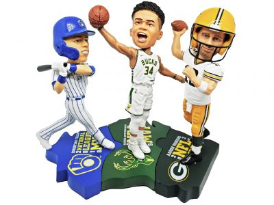 Wisconsin Triple MVP Bobblehead Puzzle Set Featuring Giannis, Yelich and Rodgers Unveiled