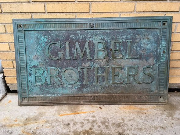 Gimbel Brothers Plaque. Photo taken November 27th, 2019 by Adam Levin.