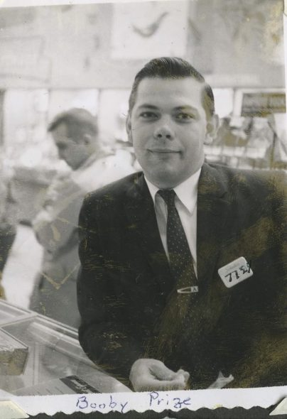 Robert Alm, a Gimbel's employee who got the sign at the closing of the store. Photographer unknown.