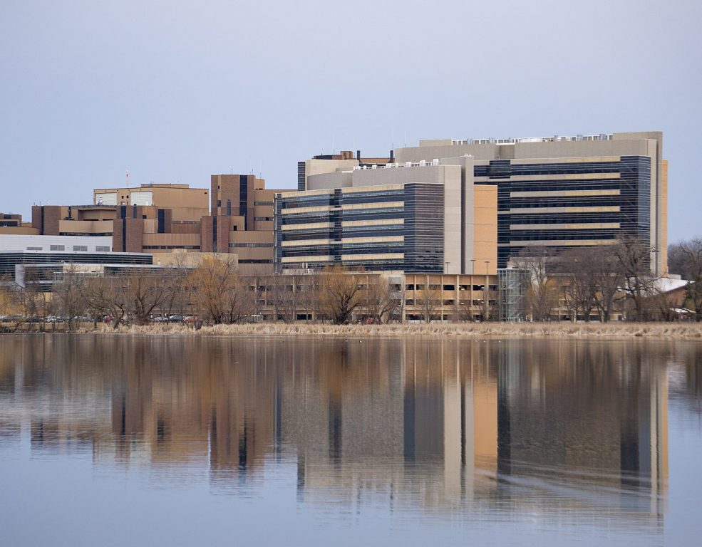 UW Health University Hospital, the UW–Madison Health Sciences Learning Center, and the Wisconsin Institutes for Medical Research in Madison, Wisconsin. Photo by Av9 [CC BY-SA (https://creativecommons.org/licenses/by-sa/4.0)].