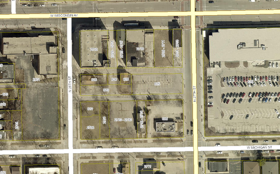 27th and Wisconsin Site. Image from Map Milwaukee.