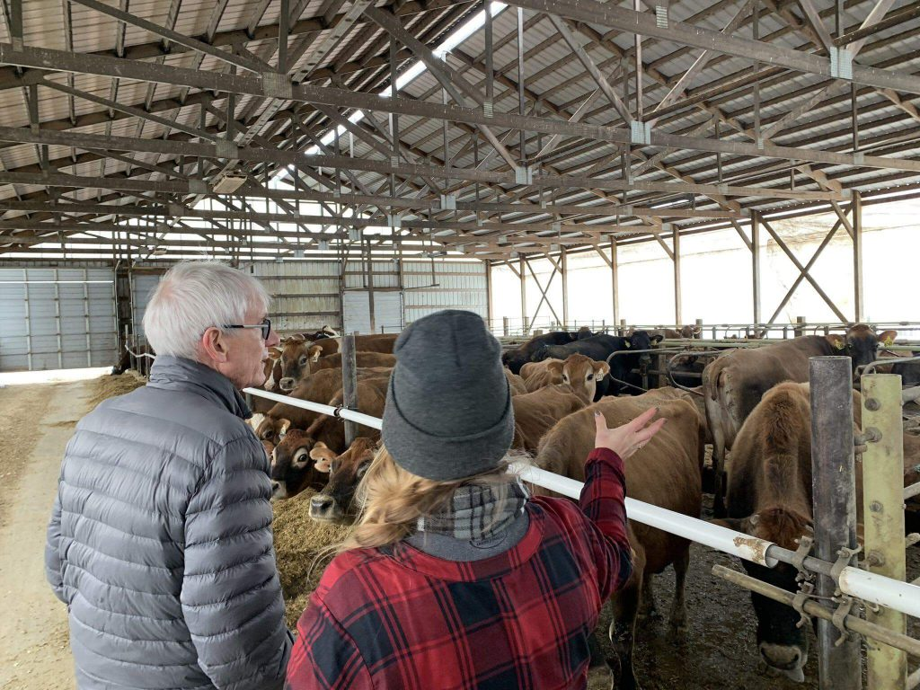 Gov. Tony Evers visits Heartwood Farm earlier this month. Photo from Evers' official Facebook page.