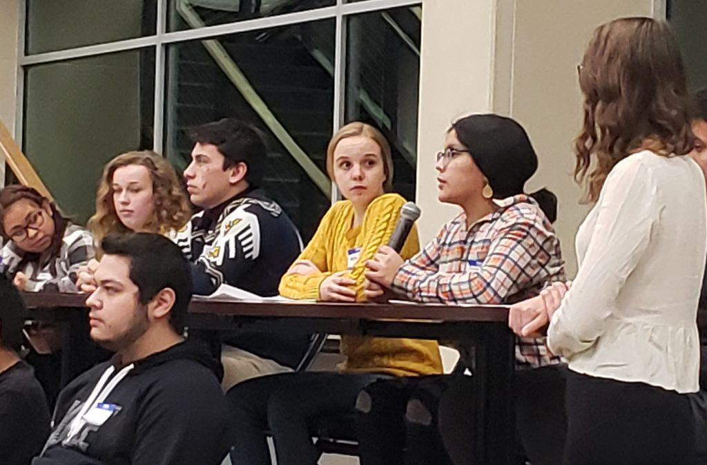 Baraboo High School students took part in a panel discussion on diversity at Baraboo High School in December 2019. Photo by Erik Gunn/Wisconsin Examiner.