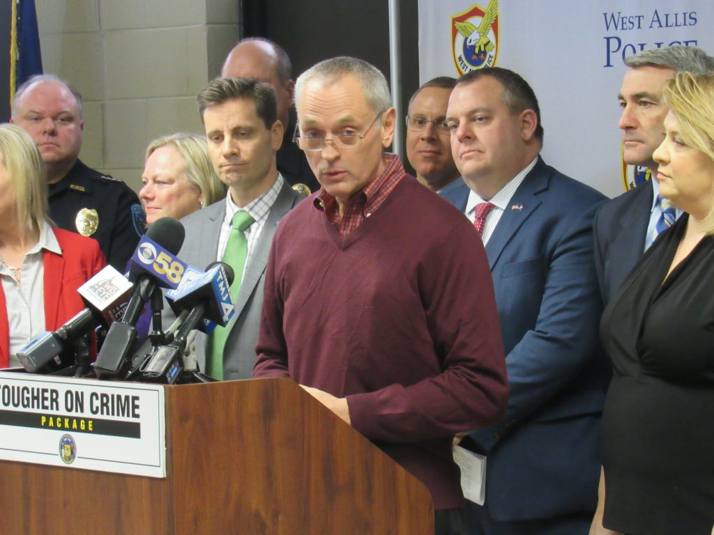 Rep. Joe Sanfelippo (R- New Berlin) and others announce the tougher on crime bill package. Photo by Isiah Holmes/Wisconsin Examiner.