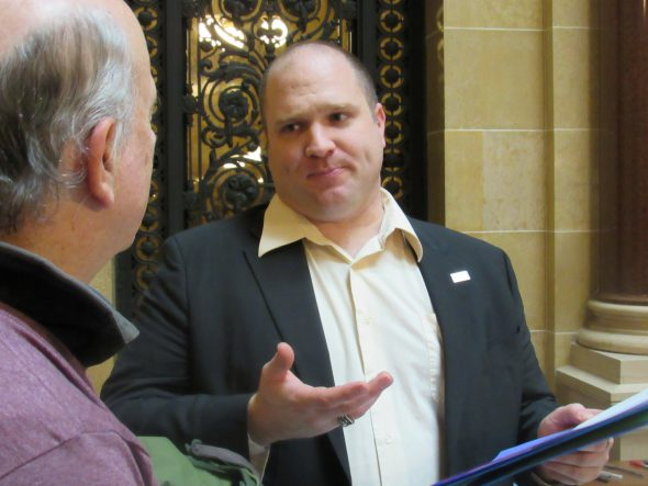 Rep. Shae Sortwell talks with lobby volunteers. Photo by Isiah Holmes/Wisconsin Examiner.