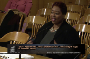 Catrina Crane speaks at a Common Council committee meeting. Image from Channel 25/City of Milwaukee.