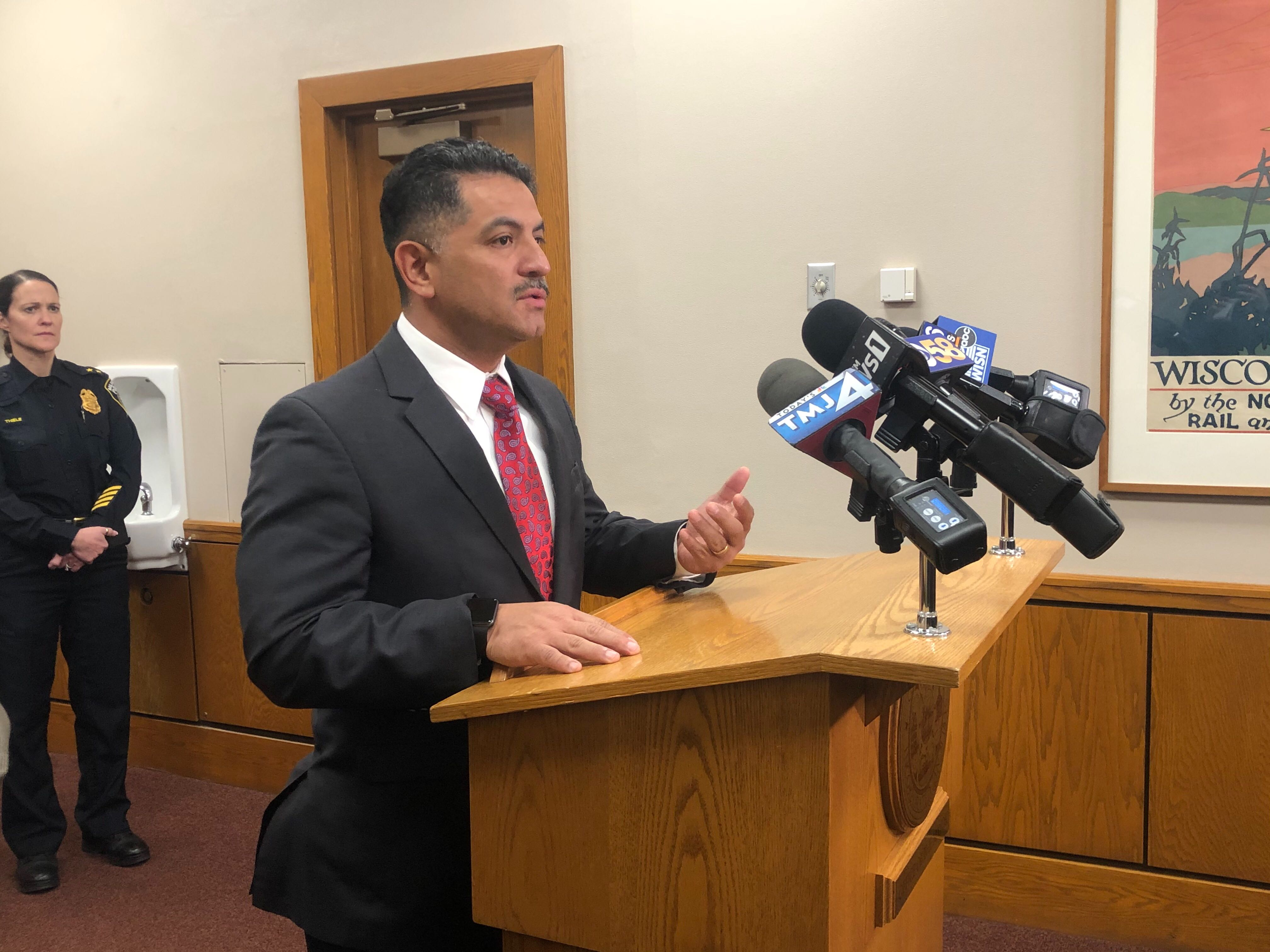 Police Chief Alfonso Morales speaks at a press conference on the DNC. Photo by Jeramey Jannene.