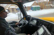 Nabor Trujilla operates a city salt truck. Photo by Jeramey Jannene.