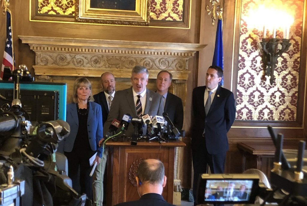 Rep. John Nygren gives the GOP perspective on the past year before the evenings State of the State speech. L to R: Sen. Alberta Darling, Majority Leader Jim Steineke, Nygren, Speaker Robin Vos, Senate President Roger Roth. Photo by Melanie Conklin/Wisconsin Examiner.