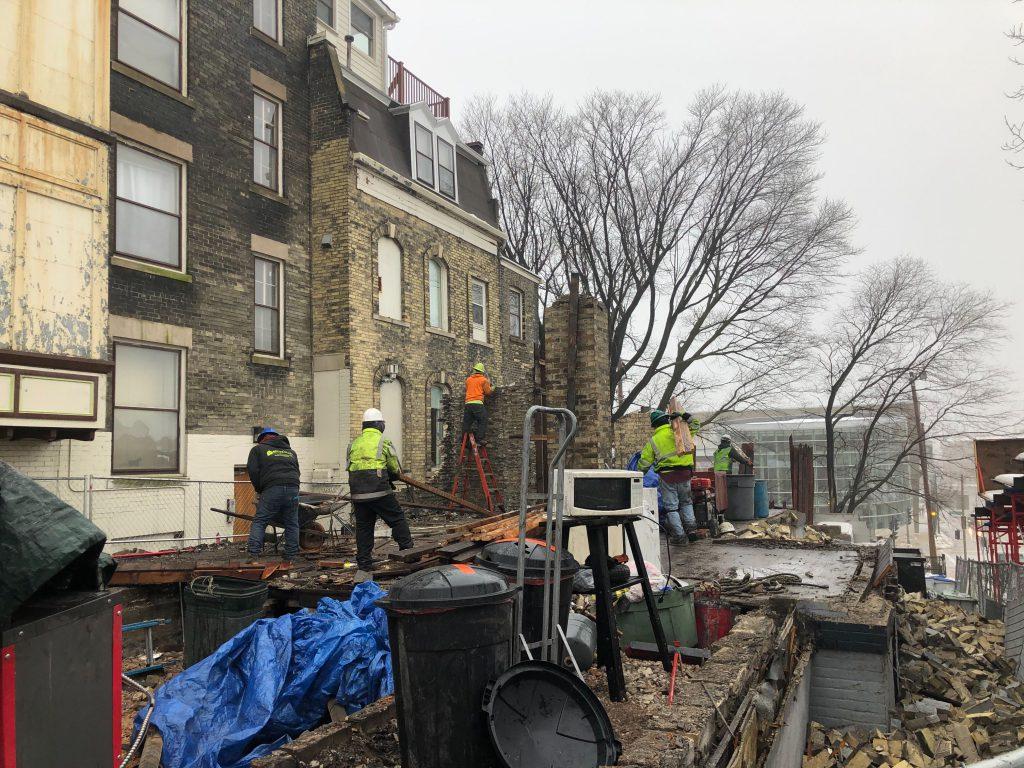 Deconstruction of the duplex at 1245-1247 N. Milwaukee St. Photo by Jeramey Jannene.