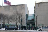AFSCME Local 526 picketing the Milwaukee Public Museum. Photo by Graham Kilmer.