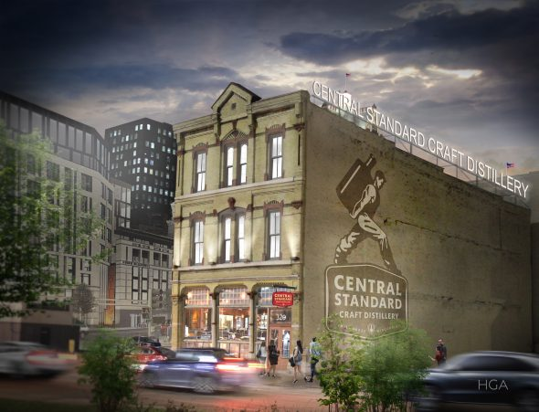 Central Standard Craft Distillery in 320 E. Clybourn St. Rendering. Rendering courtesy of Central Standard Craft Distillery.