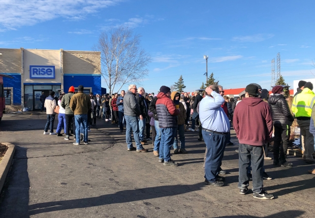 Hundreds of people have been waiting in line at RiSE in Mundelein, Illinois, the closest dispensary to Wisconsin, since New Year's Day to buy legal marijuana. Photo by Corrinne Hess/WPR.