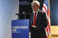 "Gov. Tony Evers spoke at a press conference Wednesday Jan. 9, 2020, in Wausau about his legislative priorities for 2020, which he framed as ""homework"" for legislators. Photo by Rob Mentzer/WPR."