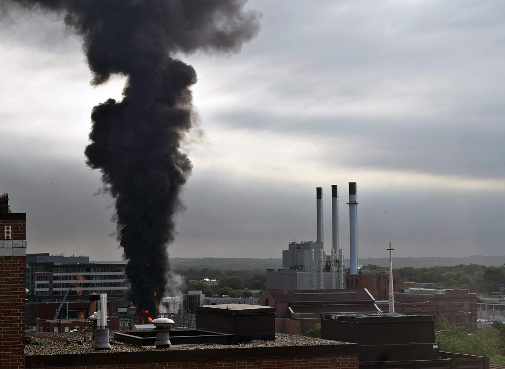 A transformer explosion and subsequent fire at the MG&E facility in downtown Madison on July 19, 2019. Subsequent testing revealed elevated PFAS levels in the area after firefighting foams were used to help extinguish the fire. Photo by Bridgit Bowden/WPR.