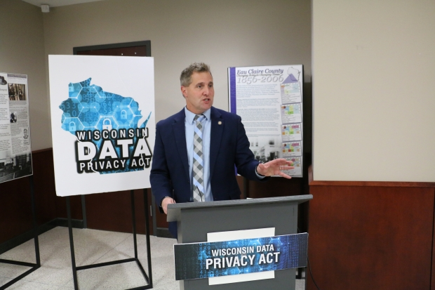 State Rep. Shannon Zimmerman, R-River Falls, speaks at a press conference in Eau Claire about legislation he's introducing aimed at letting residents block tech companies from collecting and storing their personal data. Photo by Rich Kremer/WPR.