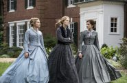 Florence Pugh, Saoirse Ronan and Emma Watson in Greta Gerwig's LITTLE WOMEN. Photo by Wilson Webb. © 2019 CTMG, Inc. All Rights Reserved.