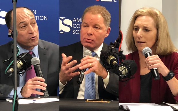Wisconsin Supreme Court candidates Ed Fallone, incumbent Daniel Kelly and Jill Karofsky participated in a debate on Tuesday, Nov. 19, 2019. Photo by Laurel White/WPR.