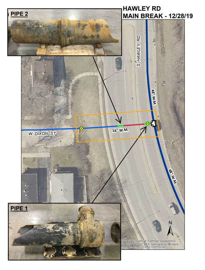 S. Hawley Rd. Water Main Break Diagram. Image from the City of Milwaukee.
