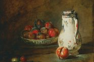 Jean-Baptiste Simeon Chardin, A Bowl of Plums, ca. 1728. Oil on canvas, 17 1/2 x 22 1/8 in. The Phillips Collection, Washington, DC. Acquired 1920