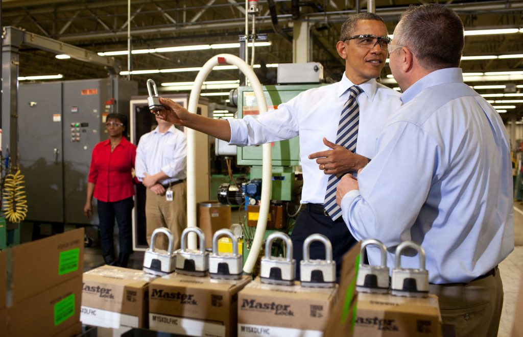 President Barack Obama tours Master Lock Co. on Feb. 15, 2012. Official White House Photo by Pete Souza.