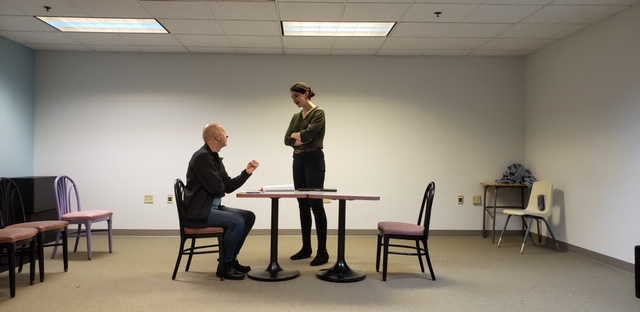 Robert W.C. Kennedy (Papa/Sims) and Maya Danks (Morris) in rehearsal for 'The Nether'. Photo courtesy of The Constructivist Theatre.