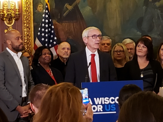 Gov. Tony Evers announces a special session on school funding from his State Capitol office on Feb. 6, 2020. Photo by Shawn Johnson/WPR.