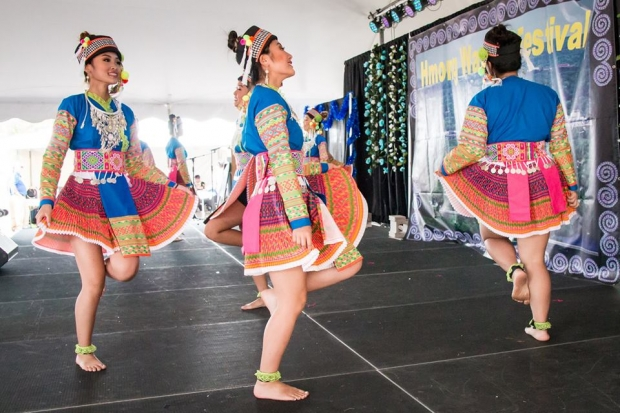 Dancers in traditional Hmong clothing compete at the 2018 Hmong Wausau Festival. Photo courtesy of the Hmong Wausau Festival.