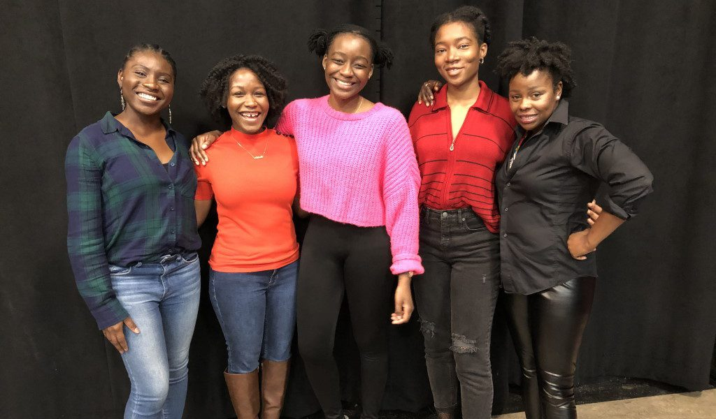 L to R – Sola Thompson, Ashleigh Awusie, Matty Sangare, Jacqueline Nwabueze, Nancy Moricette. Photo courtesy of the Milwaukee Repertory Theater.