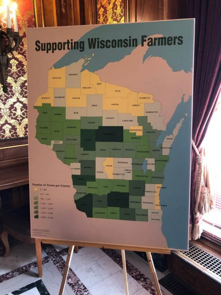 Graphic showing farms and ag business in Wisconsin counties from Assembly Republicans. Photo by Melanie Conklin/Wisconsin Examiner.