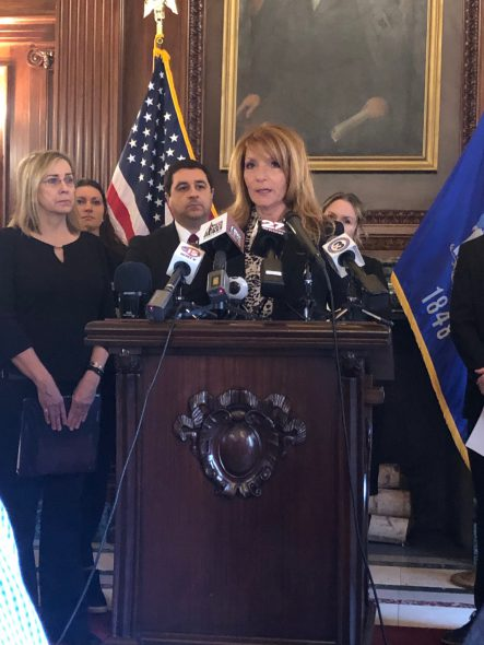 Jacqueline Jaske at a news conference on sexual assault evidence kits. Photo by Melanie Conklin/Wisconsin Examiner.