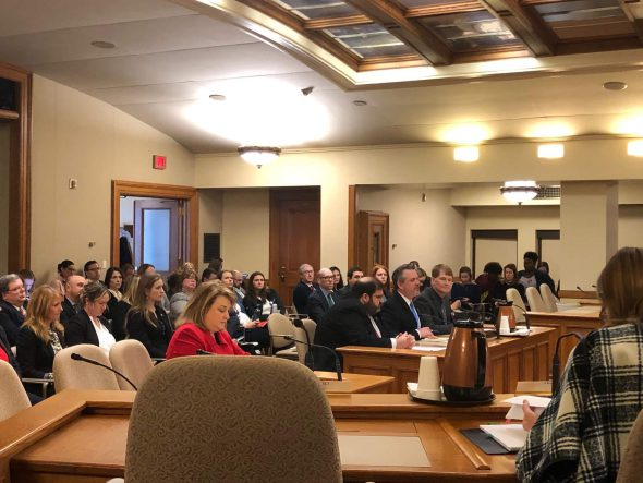 GOP sexual assault kit bill authors Janel Brandtjen, Andre Jacque, David Steffen, Jeremy Thiesfeldt testify on their new bill AB 844 at a public hearing on sexual assault evidence kits. Photo by Melanie Conklin/Wisconsin Examiner.