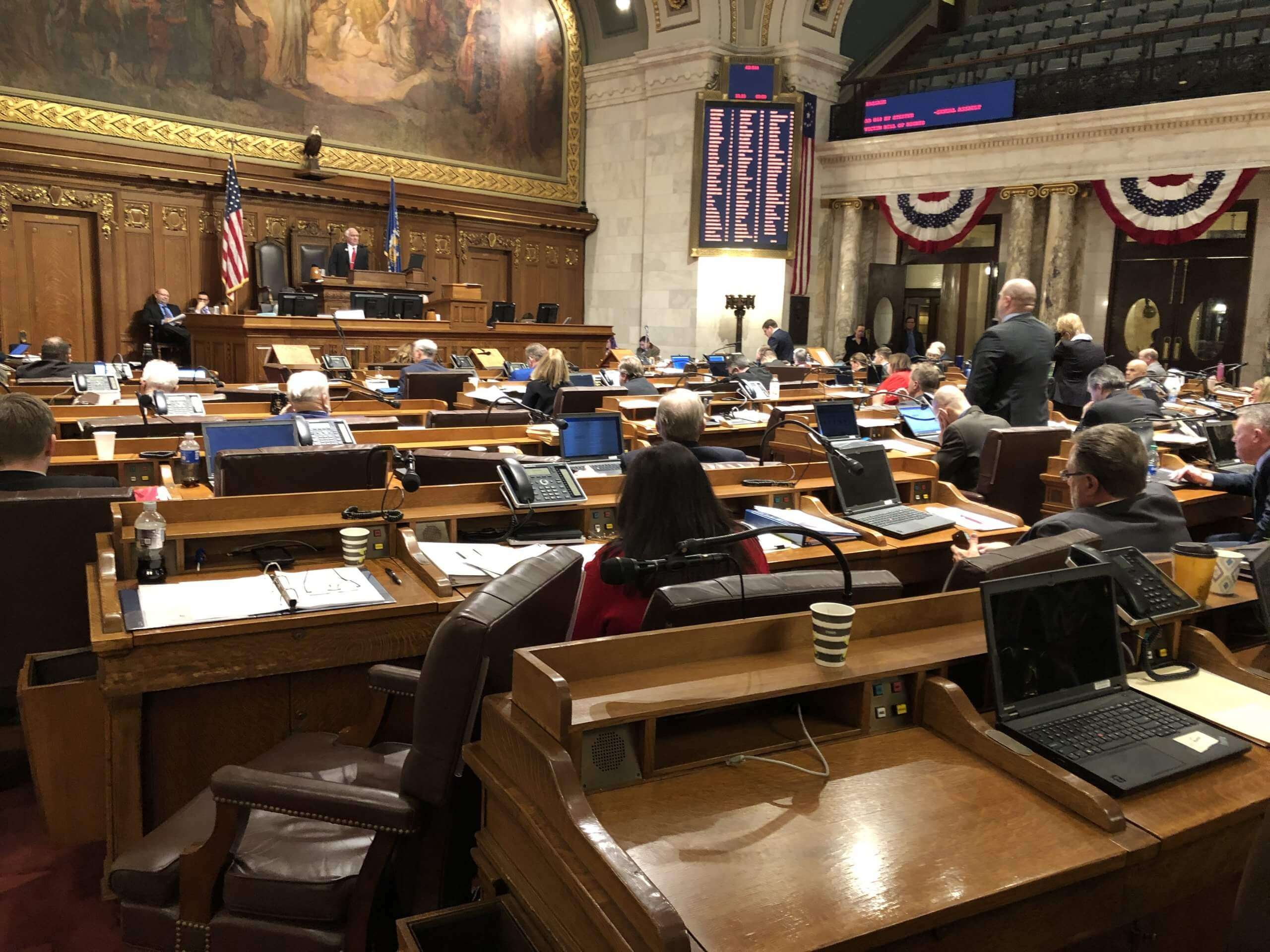 During a 2/11/20 debate on bills to prevent a rape kit backlog many Republican seats (left side of Assembly floor) sit empty with no GOP leaders present. Photo by Melanie Conklin/Wisconsin Examiner.
