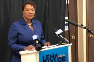 Lena Taylor delivers the Real State of the City. Photo by Jeramey Jannene.