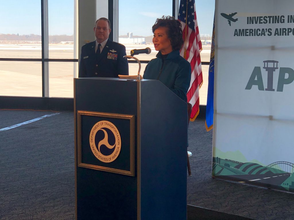 U.S. Department of Transportation Secretary Elaine Chao at a press conference at Milwaukee Mitchell International Airport. Photo by Jeramey Jannene.