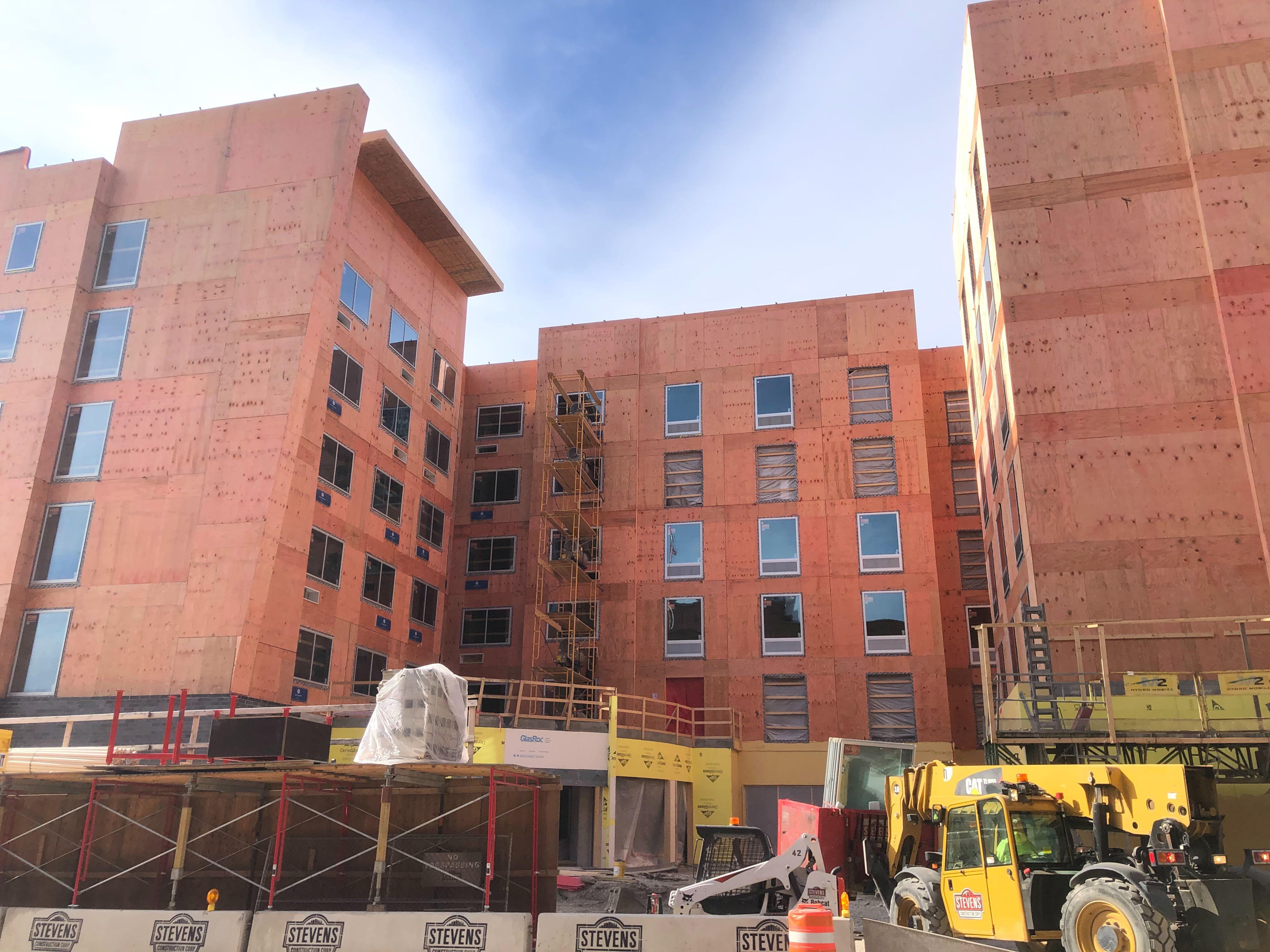 Future Hilton hotels on N. Jefferson St. Photo by Jeramey Jannene.