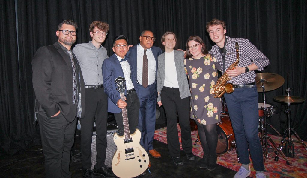 MJI Youth Ensemble with Eric Jacobson and Wynton Marsalis. Photo courtesy of MJI.