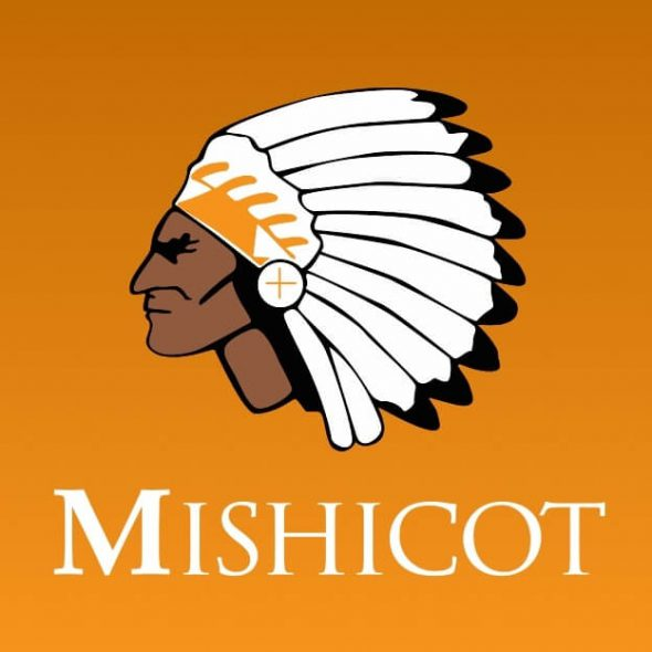 The Mishicot School District's logos include this one of an American Indian in a headdress. School district residents have defended the use of Native American logos and team names, while criticism grows of the practice. Photo from Mishicot School District.