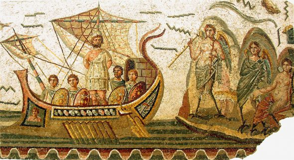 Roman mosaic - Ulysses tempted by the Sirenes. Image is in the Public Domain.